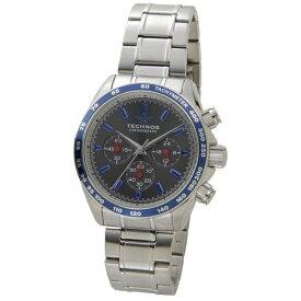 テクノス Technos メンズ腕時計 クロノグラフ タキメーター T4462NB グレー×ブルー