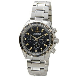 テクノス Technos メンズ腕時計 クロノグラフ タキメーター T4462SH ブラック×ゴールド