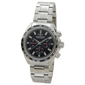 テクノス Technos メンズ腕時計 クロノグラフ タキメーター T4462SB ブラック×シルバー