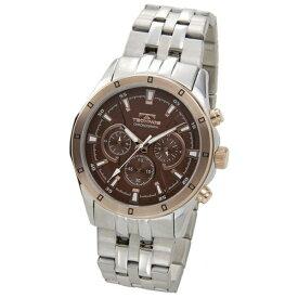 テクノス Technos メンズ腕時計 クロノグラフ T6456PA ブラウン×ピンクゴールド
