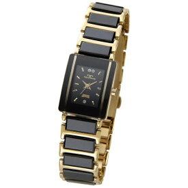 テクノス Technos レディース腕時計 セラミック TSL906GB ブラック×ゴールド