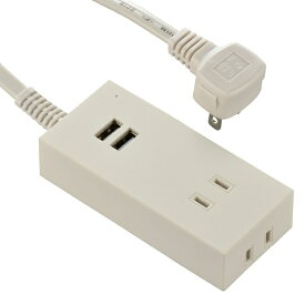 オーム電機 OHM ELECTRIC USBポート付安全タップ 2個口 2.5m HS-TU225M-W 白 [2.5m][HSTU225MW]