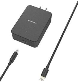 多摩電子工業 Tama Electric PD対応 USB AC充電器 18W USB-C ライトニングケーブル付属 TSAP116ULC10K ブラック [USB Power Delivery対応]
