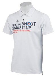 ルコック le coq メンズ ゴルフ ポロシャツ メッセージプリント(LLサイズ/ホワイト) QGMNJA17