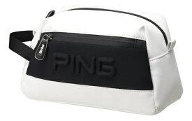 ピン PING ラウンドポーチ(W24×H16×D12cm/ホワイト/ブラック)GB-C193