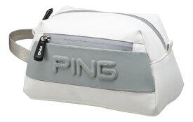 ピン PING ラウンドポーチ(W24×H16×D12cm/ホワイト/グレイ)GB-C193