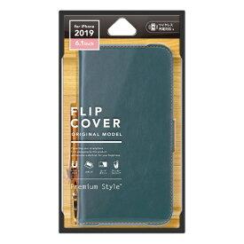 PGA iPhone 11 6.1インチ 用 フリップカバー PUレザーダメージ加工 ブルー PG-19BFP01BL