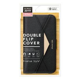 PGA iPhone 11 6.1インチ 用 ダブルフリップカバー レター型 ブラック PG-19BFP06BK