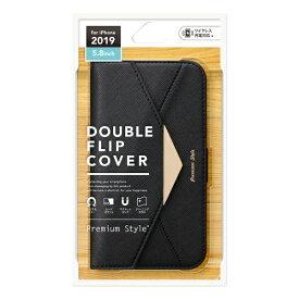 PGA iPhone 11 Pro 5.8インチ用 ダブルフリップカバー レター型 ブラック PG-19AFP06BK