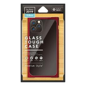 PGA iPhone 11 Pro 5.8インチ用 クリアガラスタフケース スクエア型 レッド PG-19AGT12RD