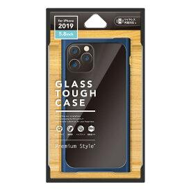 PGA iPhone 11 Pro 5.8インチ用 クリアガラスタフケース スクエア型 ネイビー PG-19AGT13NV
