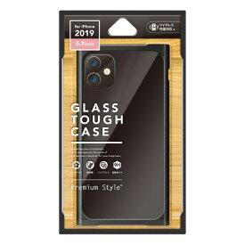 PGA iPhone 11 6.1インチ 用 クリアガラスタフケース スクエア型 ブラック PG-19BGT10BK