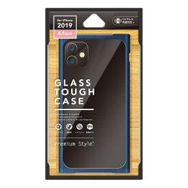 PGA iPhone 11 6.1インチ 用 クリアガラスタフケース スクエア型 ネイビー PG-19BGT13NV