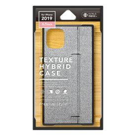 PGA iPhone 11 6.1インチ 用 テクスチャーハイブリッドケース ファブリック調グレー PG-19BPT11GY