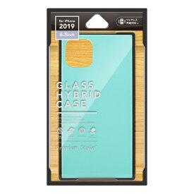 PGA iPhone 11 Pro Max 6.5インチ 用 ガラスハイブリッドケース ブルー PG-19CGT04BL