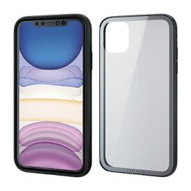 エレコム ELECOM iPhone 11 6.1インチ対応 ハイブリッドケース ガラス フレーム シルバー PM-A19CHVCG6SV