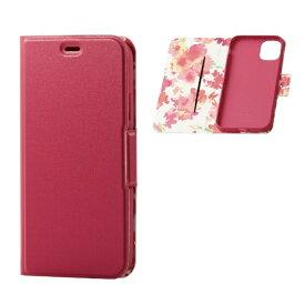 エレコム ELECOM iPhone 11 6.1インチ対応 ソフトレザーケース 女子向 磁石付 薄型 ディープピンク PM-A19CPLFUJPND