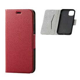 エレコム ELECOM iPhone 11 6.1インチ対応 ソフトレザーケース 磁石付 薄型 レッド PM-A19CPLFURD