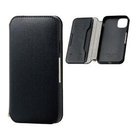 エレコム ELECOM iPhone 11 6.1インチ対応 ソフトレザーケース 磁石付 ブラック PM-A19CPLFY2BK
