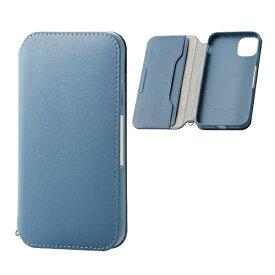 エレコム ELECOM iPhone 11 6.1インチ対応 ソフトレザーケース 磁石付 ブルー PM-A19CPLFY2BU