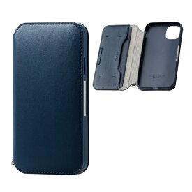 エレコム ELECOM iPhone 11 6.1インチ対応 ソフトレザーケース 磁石付 ネイビー PM-A19CPLFY2NV