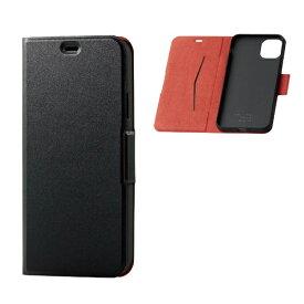 エレコム ELECOM iPhone 11 Pro Max 6.5インチ ソフトレザーケース 磁石付 薄型 ブラック PM-A19DPLFUBK