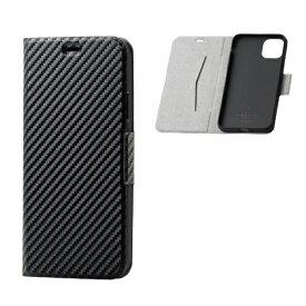 エレコム ELECOM iPhone 11 Pro Max 6.5インチ ソフトレザーケース 磁石付 薄型 カーボン調(ブラック) PM-A19DPLFUCB