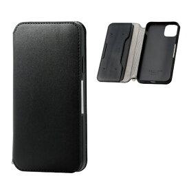 エレコム ELECOM iPhone 11 Pro Max 6.5インチ ソフトレザーケース 磁石付 ブラック PM-A19DPLFY2BK