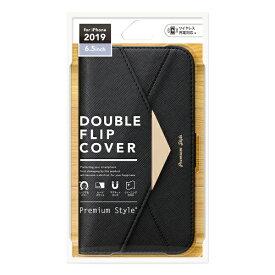 PGA iPhone 11 Pro Max 6.5インチ 用 ダブルフリップカバー レター型 PG-19CFP06BK ブラック