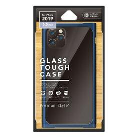 PGA iPhone 11 Pro Max 6.5インチ 用 クリアガラスタフケース スクエア型 PG-19CGT13NV ネイビー