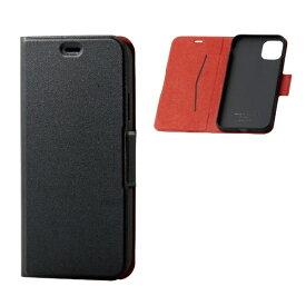 エレコム ELECOM iPhone 11 6.1インチ対応 ソフトレザーケース 磁石付 薄型 ブラック PM-A19CPLFUBK