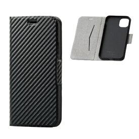エレコム ELECOM iPhone 11 6.1インチ対応 ソフトレザーケース 磁石付 薄型 カーボン調(ブラック) PM-A19CPLFUCB