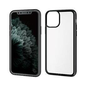 エレコム ELECOM iPhone 11 Pro 5.8インチ対応 ソフトケース サイドメッキ 極み ブラック PM-A19BUCTMBK