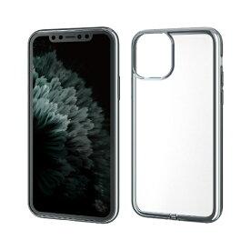 エレコム ELECOM iPhone 11 Pro 5.8インチ対応 ソフトケース サイドメッキ 極み シルバー PM-A19BUCTMSV
