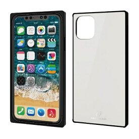 エレコム ELECOM iPhone 11 6.1インチ対応 ハイブリッドケース ガラス スクエア 背面カラー ホワイト PM-A19CHVCGS1WH