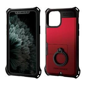 エレコム ELECOM iPhone 11 Pro 5.8インチ対応 ZEROSHOCK リング付 レッド PM-A19BZERORRD