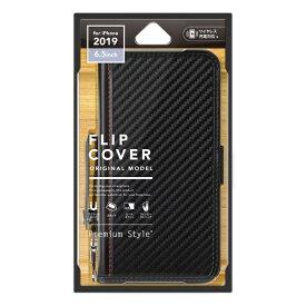 PGA iPhone 11 Pro Max 6.5インチ 用 フリップカバー PUレザーダメージ加工 PG-19CFP04BK カーボン調ブラック