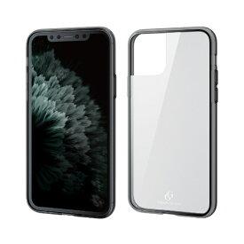 エレコム ELECOM iPhone 11 Pro 5.8インチ対応 ハイブリッドケース ガラス スタンダード ブラック PM-A19BHVCG1BK