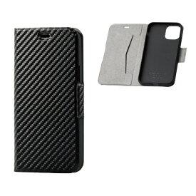 エレコム ELECOM iPhone 11 Pro 5.8インチ対応 ソフトレザーケース 磁石付 薄型 カーボン調(ブラック) PM-A19BPLFUCB