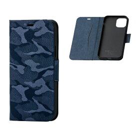 エレコム ELECOM iPhone 11 Pro 5.8インチ対応 ファブリックケース カモフラ 磁石付 薄型 ネイビー PM-A19BPLFUCFNV