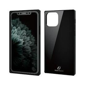 エレコム ELECOM iPhone 11 Pro 5.8インチ対応 ハイブリッドケース ガラス スクエア 背面カラー ブラック PM-A19BHVCGS1BK