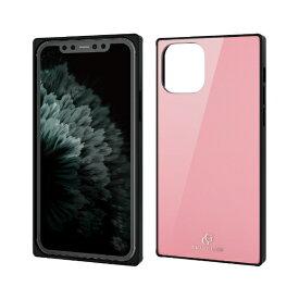 エレコム ELECOM iPhone 11 Pro 5.8インチ対応 ハイブリッドケース ガラス スクエア 背面カラー ピンク PM-A19BHVCGS1PN