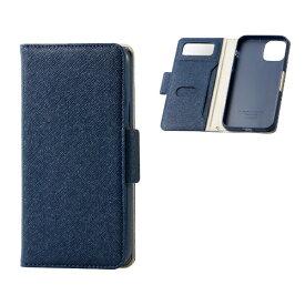 エレコム ELECOM iPhone 11 Pro 5.8インチ対応 ソフトレザーケース 女子向 磁石付 ネイビー PM-A19BPLFJM1NV