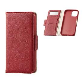 エレコム ELECOM iPhone 11 Pro 5.8インチ対応 ソフトレザーケース 女子向 磁石付 レッド PM-A19BPLFJM1RD
