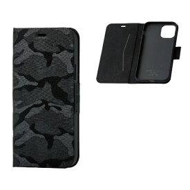 エレコム ELECOM iPhone 11 Pro 5.8インチ対応 ファブリックケース カモフラ 磁石付 薄型 ブラック PM-A19BPLFUCFBK
