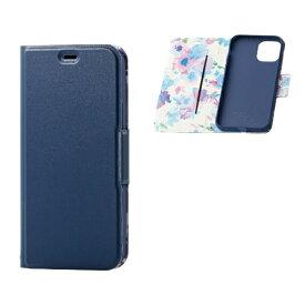 エレコム ELECOM iPhone 11 Pro 5.8インチ対応 ソフトレザーケース 女子向 磁石付 薄型 ネイビー PM-A19BPLFUJNV
