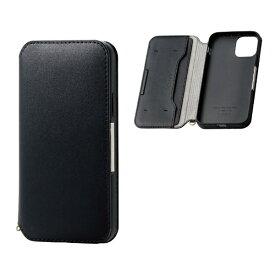 エレコム ELECOM iPhone 11 Pro 5.8インチ対応 ソフトレザーケース 磁石付 ブラック PM-A19BPLFY2BK