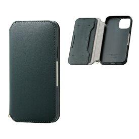 エレコム ELECOM iPhone 11 Pro 5.8インチ対応 ソフトレザーケース 磁石付 グリーン PM-A19BPLFY2GN