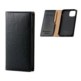 エレコム ELECOM iPhone 11 Pro 5.8インチ対応 ソフトレザーケース イタリアン(Coronet) ネロ PM-A19BPLFYILBK