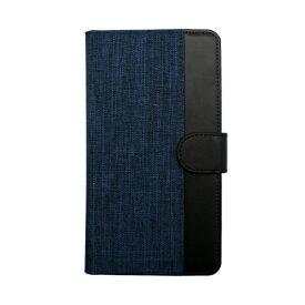 OWLTECH オウルテック 大型スマートフォン対応 ホルダータイプ ファブリック生地×PUレザー 手帳型 マルチケース OWL-CVMUL01-NVBK ネイビーxブラック
